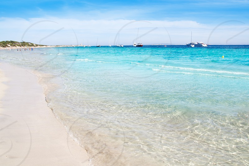 Ibiza Ses Salines south beach turquoise water island of Mediterranean photo