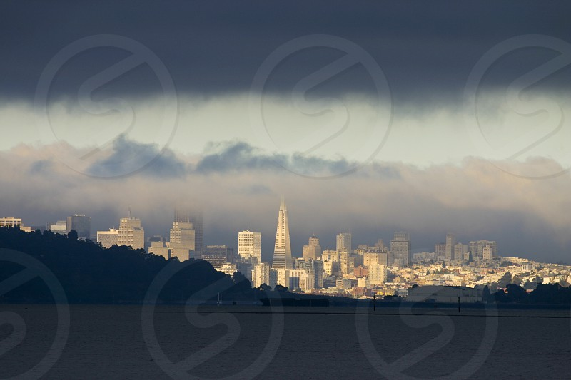 San Francisco City with coud layers photo