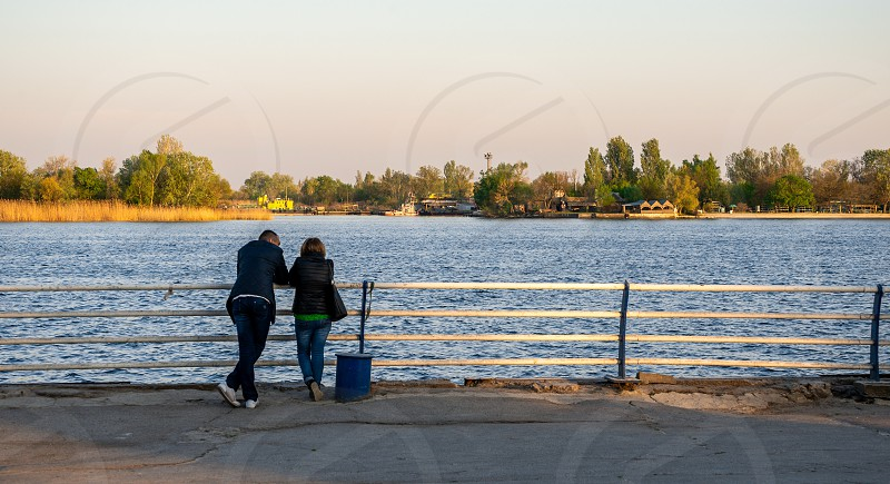Kherson Ukraine - 04.27.2019. View of the Dnieper River from the embankment alley in Kherson Ukraine photo