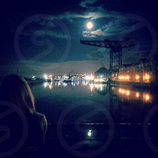 James Watt Dock Greenock. Moonlight. Crane. photo
