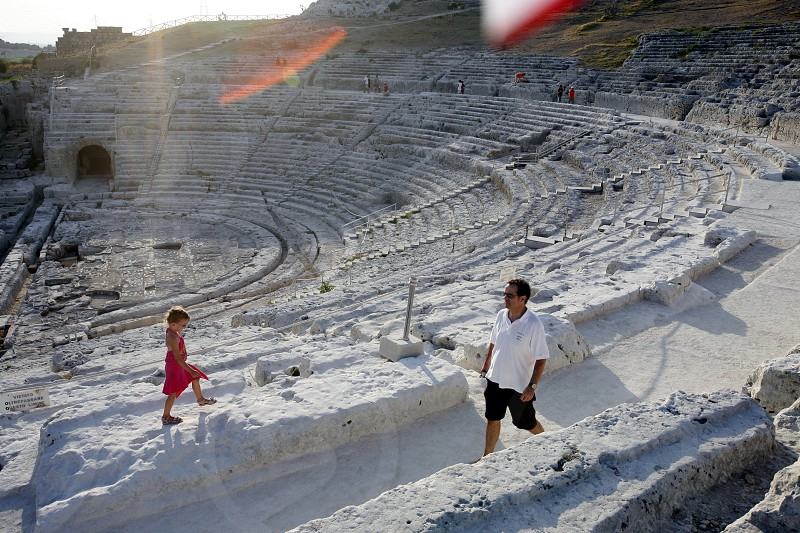 the theatro Greco near the town of Siracusa in Sicily in south Italy in Europe. photo