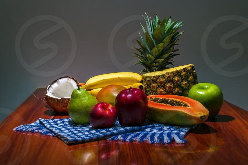fruits apple pineapple coconut bananas pear photo