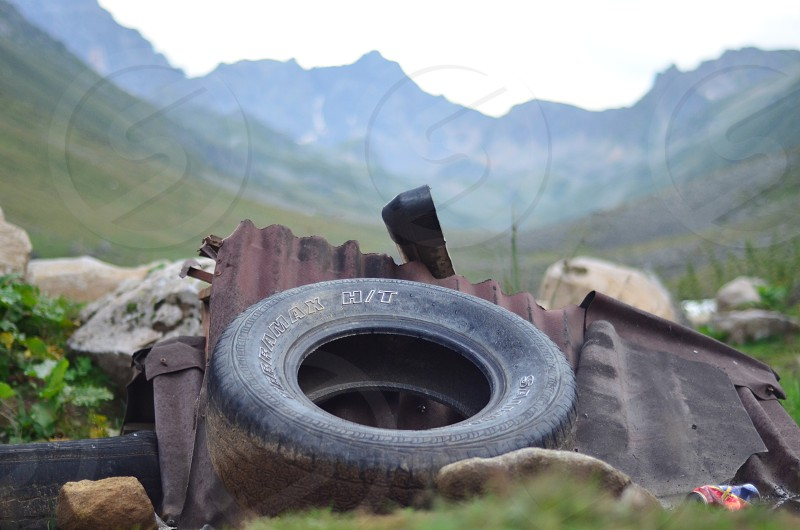 Recyclable Garbage in the high mountains of the black see. photo