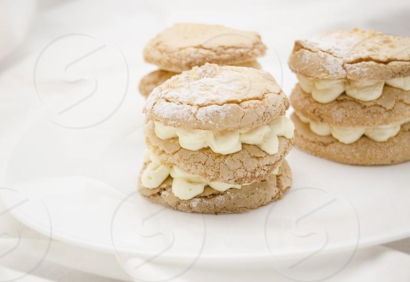 A dessert with white vanilla cream and crispy crust  photo