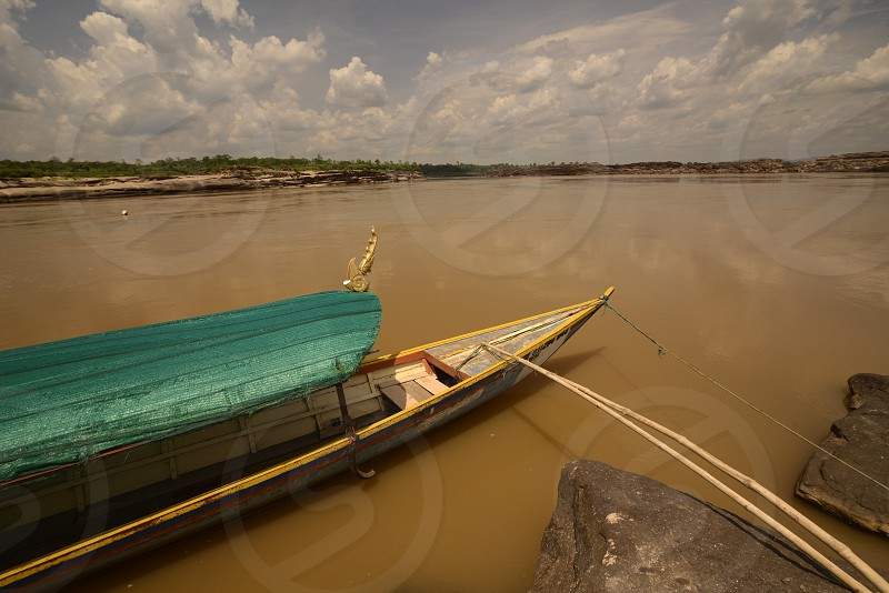 the Mekong River in the Naturepark Sam Phan Bok near  Lakhon Pheng on the Mekong River in the Provinz Amnat Charoen in the northwest of Ubon Ratchathani in the Region of Isan in Northeast Thailand in Thailand. photo