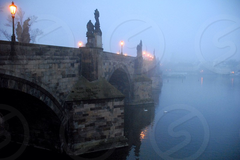 Charles Bridge in fog at dawn photo
