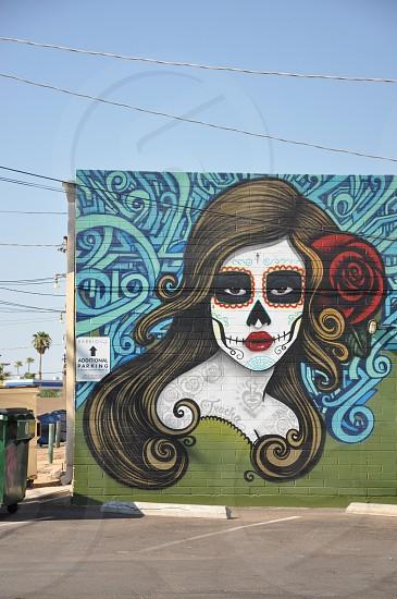 Halloween dia de Los muertos day of the dead skull painting skull makeup phoenixArizona barrio cafe photo