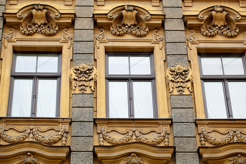 Vintage building in jugendstyle (Art Nouveau) in Riga Latvia. Architecture detail. Historical building. photo