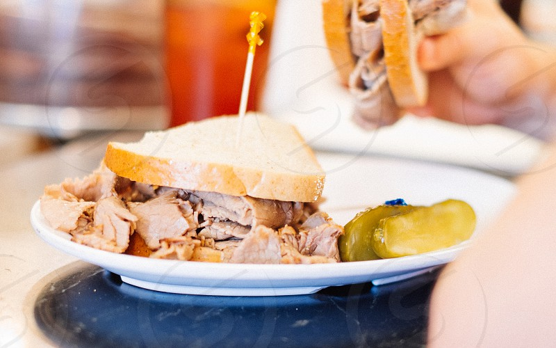Roast beef sandwich at a New York diner bar. Local food. photo