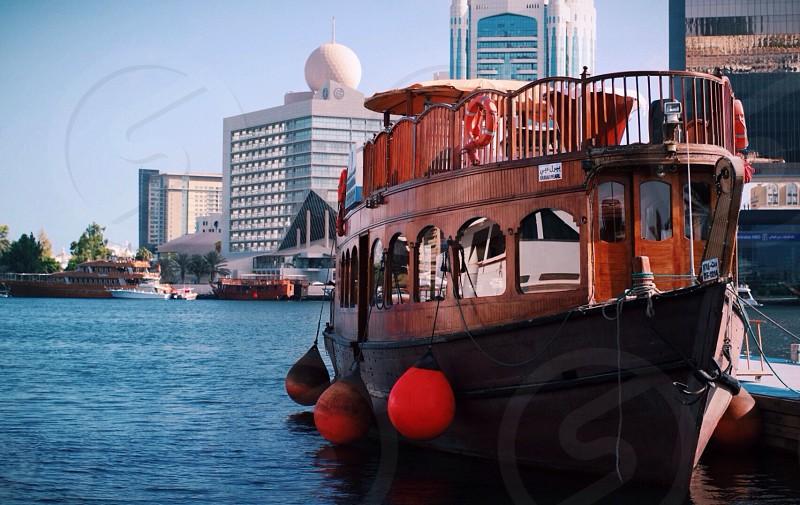 barge docked near pier photo