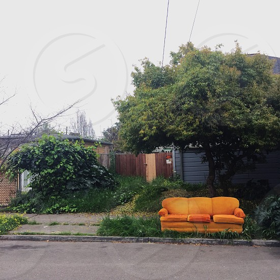 Sofa couch colors complementary orange green color wheel Berkeley Bay Area outdoors photo