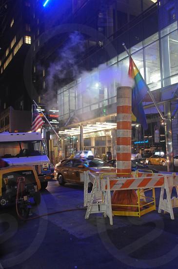 Night steam work in NYC. photo