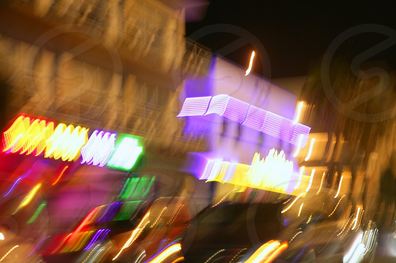 Blurred city lights motion blur colorful urban night background photo