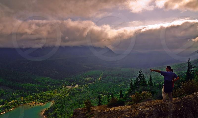 person on a mountain photo