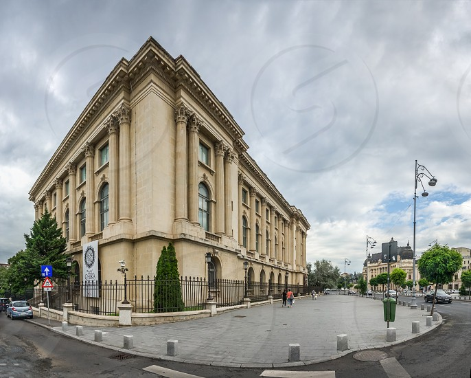 BUCHAREST ROMANIA - 07.21.2018. National Museum of Art in Bucharest Romania. Panoramic view in a gloomy summer morning photo