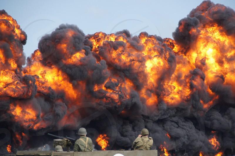 War bombs flames fire smoke army battle combat wall of fire photo