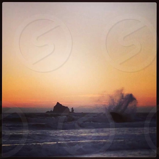 Rialto Beach Washington Coast wave crash sunset photo