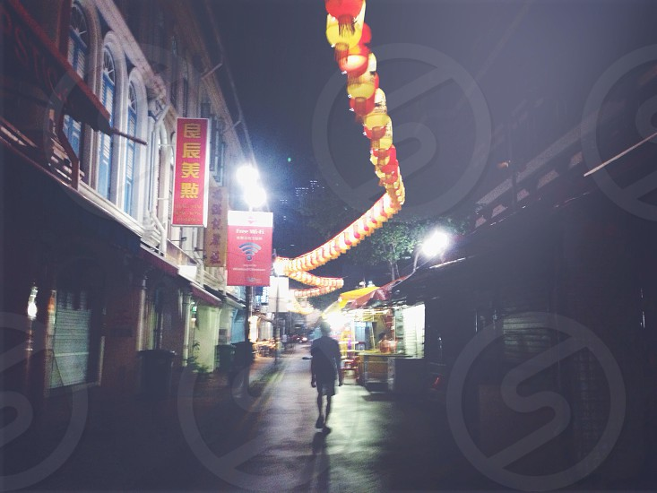 lonely road; Chinatown; lanterns photo