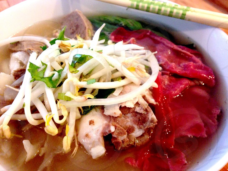 Vietnam House Seattle. Pho- beef broth and rice noodle soup. photo