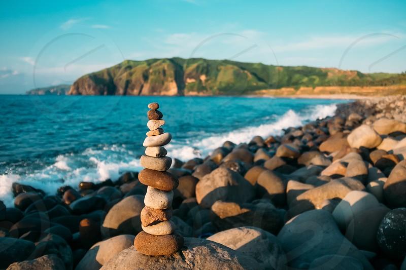 Stone Balance Zen peace peaceful shoreline beach photo