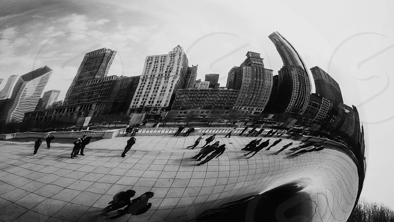The reflection of Chicago in the Cloud Gate. photo