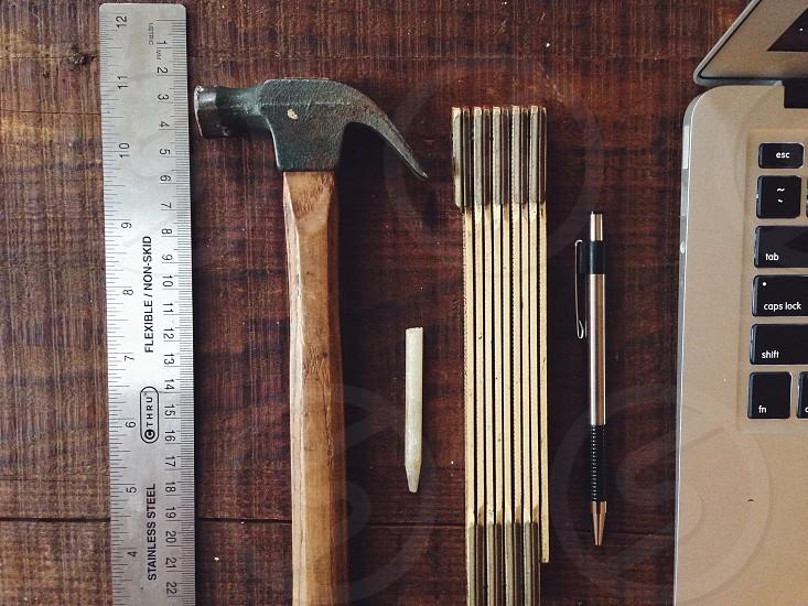 Wood handle hammer photo