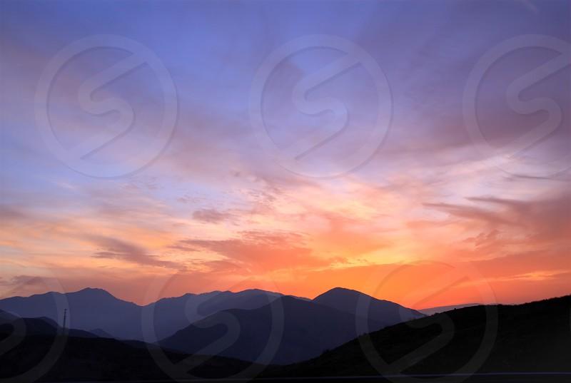 Pink blue orange sky photo