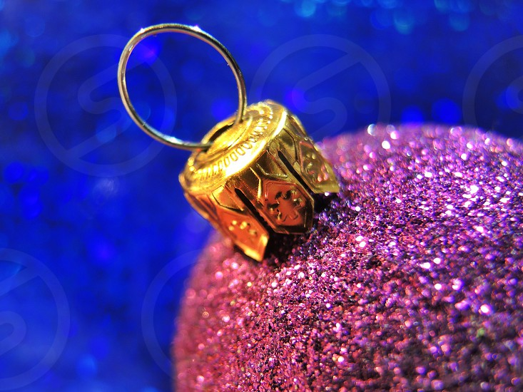 purple and gold christmas ornament photo