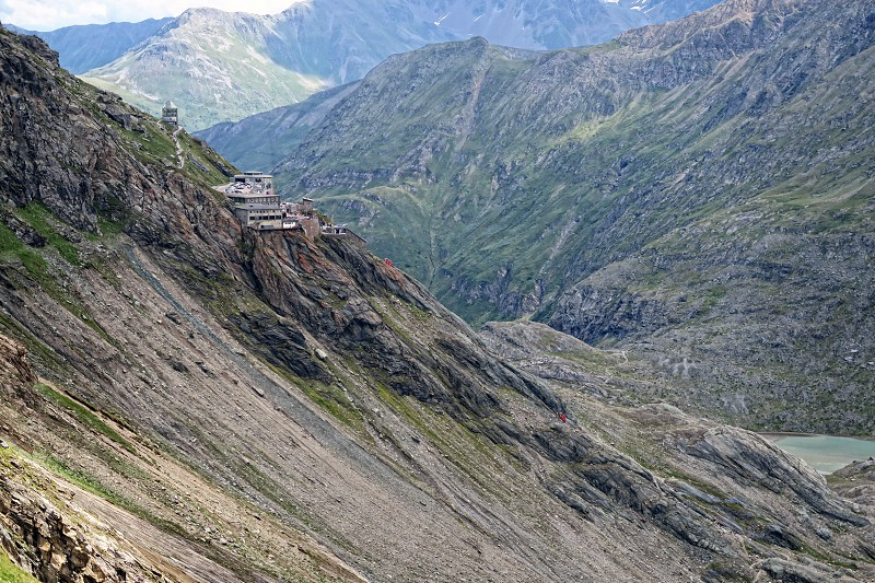 Grossglockner mountain area and its parking house with restaurants and stores. down below the pasterze melt water lake. (Austria) photo