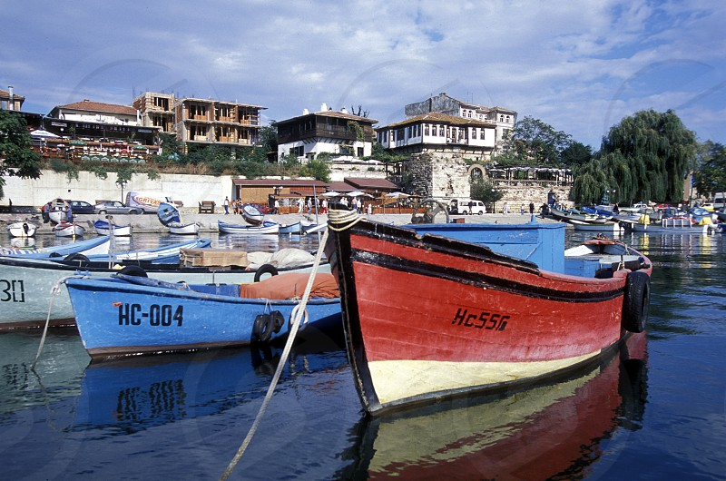 the harbour of the old town of  Nesebar on the coast of the Black sea in Bulgaria in east Europe. photo