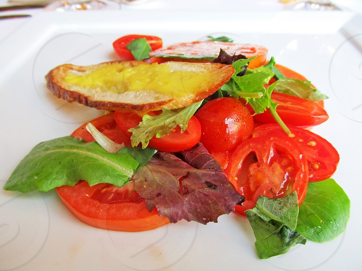 Tomato salad with lettuce and crouton photo