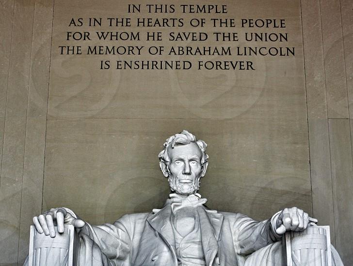 Abraham Lincoln statue in the Lincoln Memorial Washington D.C. photo