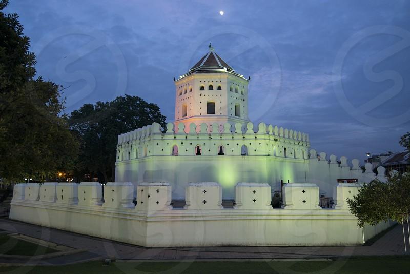 the fort Sumen at the Santichaiparakan park in Banglamphu in the city of Bangkok in Thailand.  Thailand Bangkok November 2017 photo