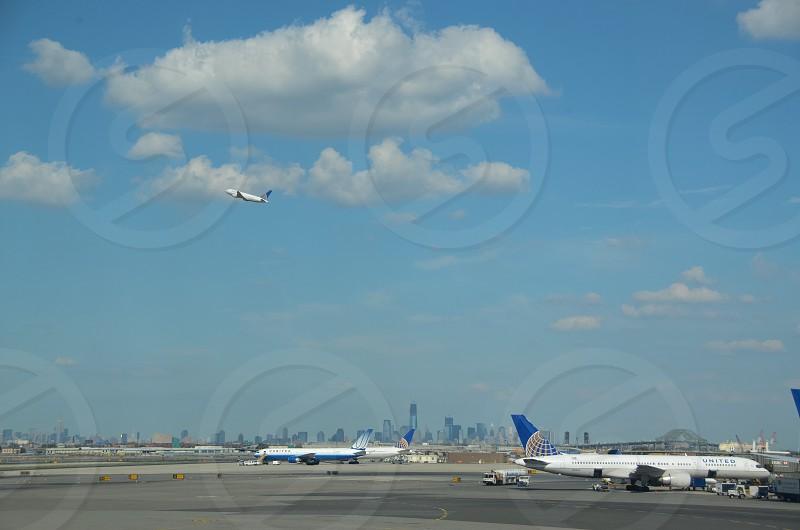 Newark Airport. Manhattan skyline circa 2012. photo