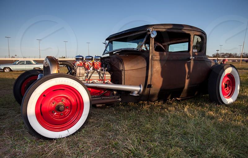 Red wheels hot rod vintage car photo