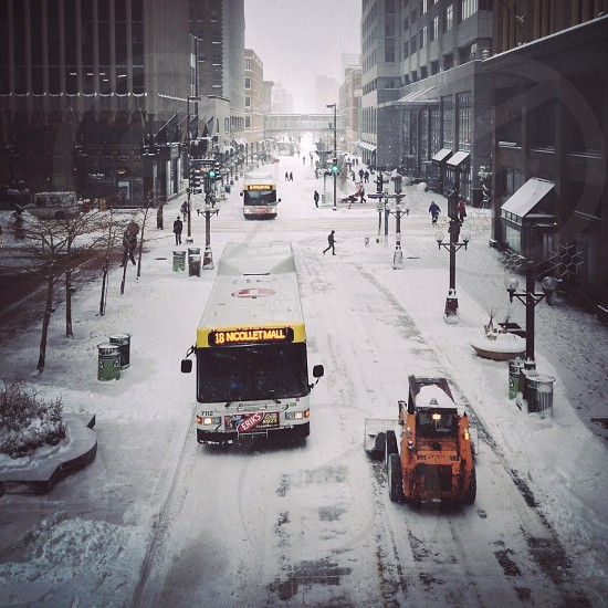 Digging out from a snowstorm on Nicollet Mall Minneapolis.  photo