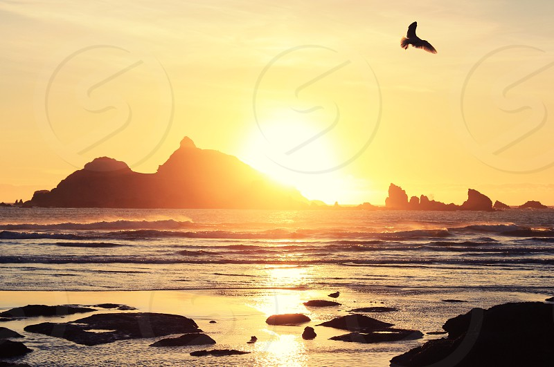 seam rock sunset  photo