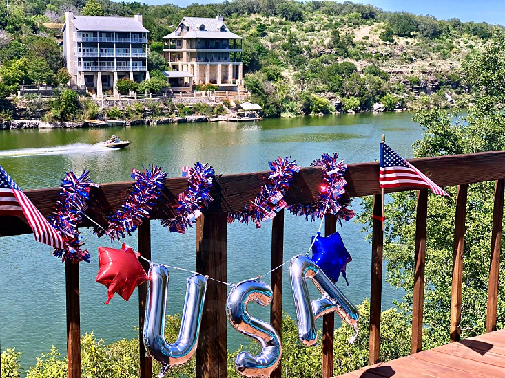 4th of July 4th of July on Lady Bird Lake in Texas July 4th Decorating 4th of July Decor Lake Boats Independence Day Red White and Blue Decor photo