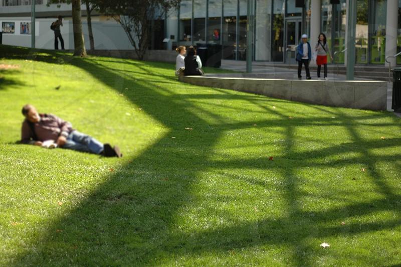 man lying on green grass field photo