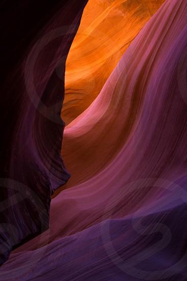 Light softly coming through Antelope slot canyon in Arizona. photo