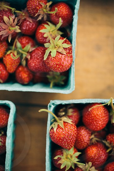 red strawberries in box photo
