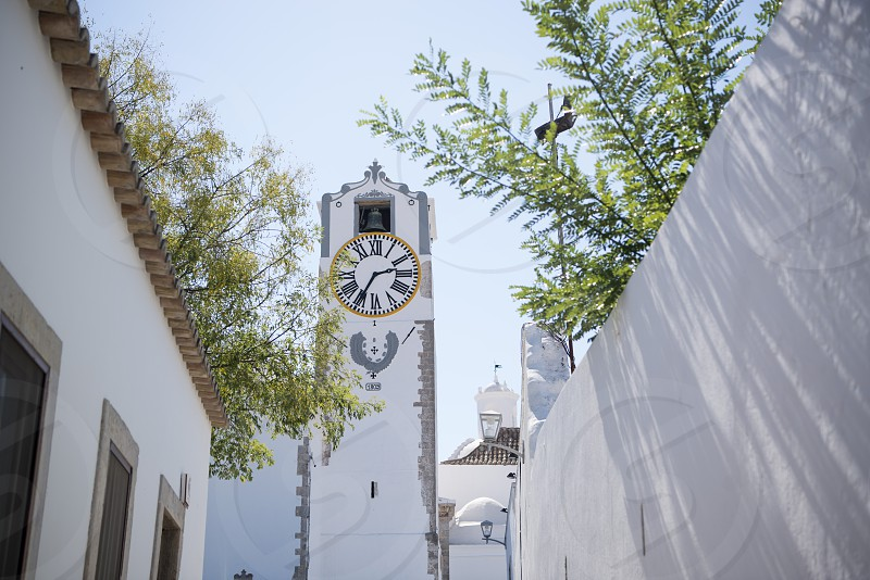 the church igreja Santa Maria do Castelo in the old town of Tavira at the east Algarve in the south of Portugal in Europe. photo