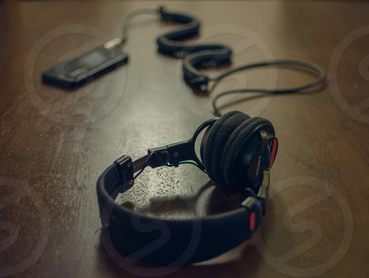 black headphones corded photo