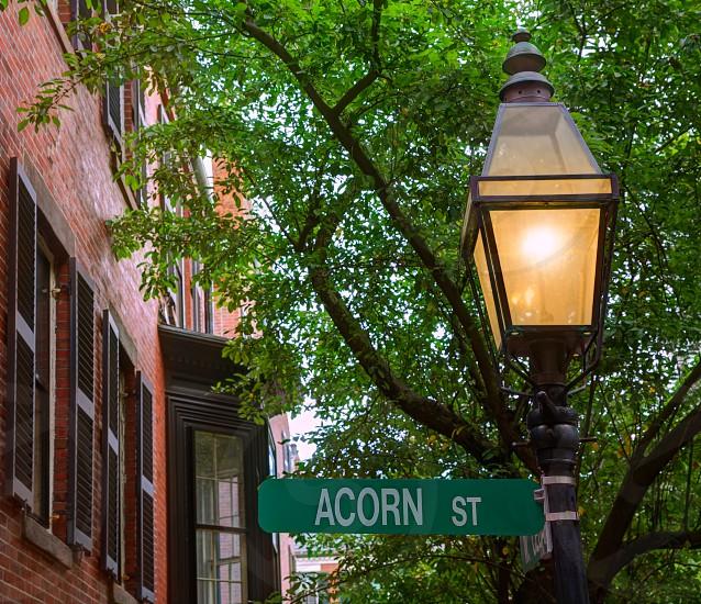 Acorn street Beacon Hill cobblestone Boston in Massachusetts USA photo