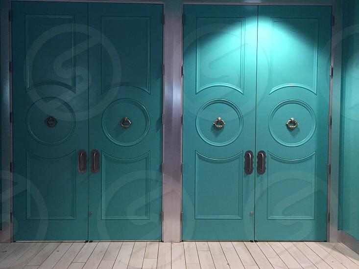 Doors; green doors; light off photo