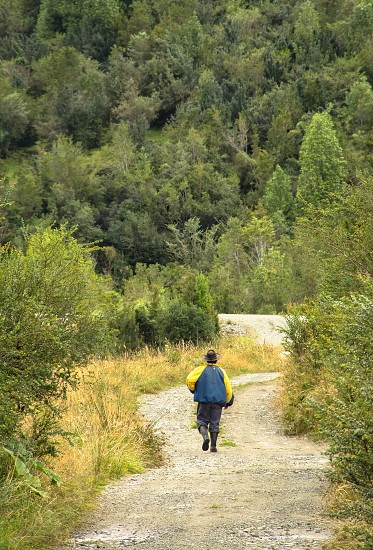 A lone hiker near Puyuhuapi Patagonia Chile photo
