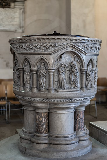 ROCHESTER KENT/UK - MARCH 24 : View of the font in the Cathedral at Rochester on March 24 2019 photo