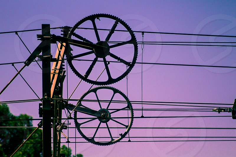 A train catenary cables. photo