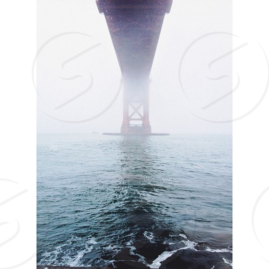 blue sea and golden gate bridge photo