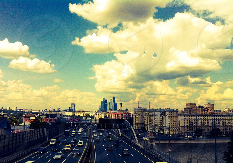 Moscow road traffic Sky city Moscow-city houses bridge Москва небо облака Москва-сити мост трафик дорога автомобиль photo